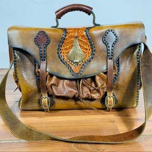 Very rare vintage leather and cobra skin bag